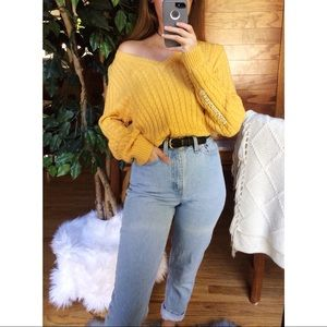 🌿 Vintage Mustard Cozy Cable Knit Sweater 🌿
